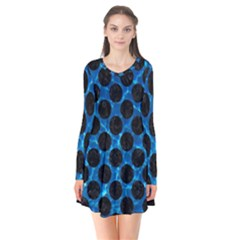 Circles2 Black Marble & Deep Blue Water (r) Flare Dress by trendistuff