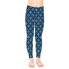 Circles3 Black Marble & Deep Blue Water (r) Kids  Legging by trendistuff