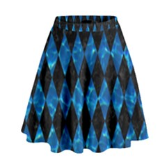 Diamond1 Black Marble & Deep Blue Water High Waist Skirt by trendistuff