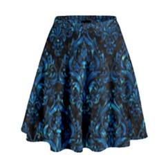 Damask1 Black Marble & Deep Blue Water High Waist Skirt by trendistuff