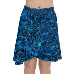 Damask1 Black Marble & Deep Blue Water (r) Chiffon Wrap