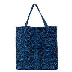 Damask2 Black Marble & Deep Blue Water Grocery Tote Bag by trendistuff