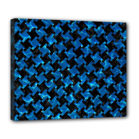 Houndstooth2 Black Marble & Deep Blue Water Deluxe Canvas 24  X 20   by trendistuff
