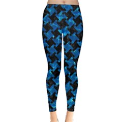 Houndstooth2 Black Marble & Deep Blue Water Leggings  by trendistuff