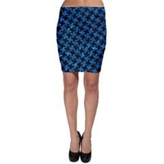 Houndstooth2 Black Marble & Deep Blue Water Bodycon Skirt by trendistuff