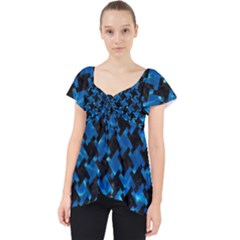 Houndstooth2 Black Marble & Deep Blue Water Lace Front Dolly Top