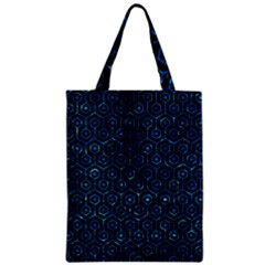 Hexagon1 Black Marble & Deep Blue Water Zipper Classic Tote Bag by trendistuff