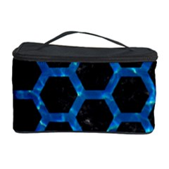 Hexagon2 Black Marble & Deep Blue Water Cosmetic Storage Case by trendistuff