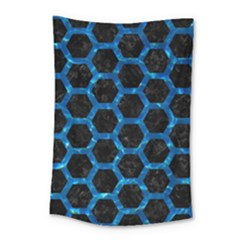 Hexagon2 Black Marble & Deep Blue Water Small Tapestry by trendistuff