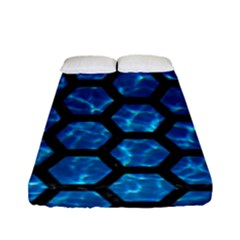 Hexagon2 Black Marble & Deep Blue Water (r) Fitted Sheet (full/ Double Size) by trendistuff