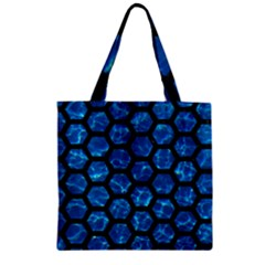 Hexagon2 Black Marble & Deep Blue Water (r) Zipper Grocery Tote Bag by trendistuff