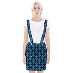 Puzzle1 Black Marble & Deep Blue Water Braces Suspender Skirt