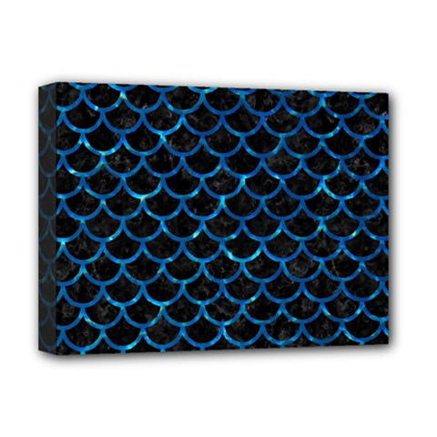 Scales1 Black Marble & Deep Blue Water Deluxe Canvas 16  X 12   by trendistuff