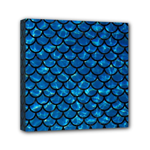 Scales1 Black Marble & Deep Blue Water (r) Mini Canvas 6  X 6  by trendistuff