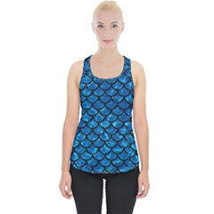Scales1 Black Marble & Deep Blue Water (r) Piece Up Tank Top