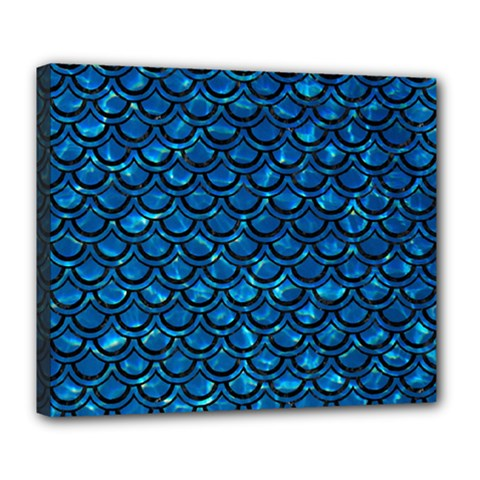 Scales2 Black Marble & Deep Blue Water (r) Deluxe Canvas 24  X 20   by trendistuff