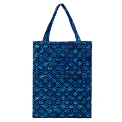 Scales2 Black Marble & Deep Blue Water (r) Classic Tote Bag by trendistuff