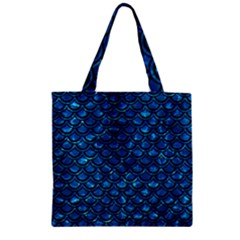 Scales2 Black Marble & Deep Blue Water (r) Zipper Grocery Tote Bag by trendistuff