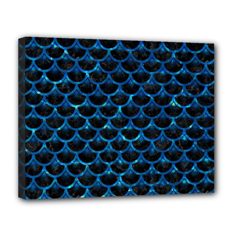 Scales3 Black Marble & Deep Blue Water Canvas 14  X 11  by trendistuff