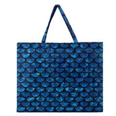 Scales3 Black Marble & Deep Blue Water (r) Zipper Large Tote Bag by trendistuff