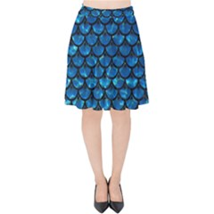 Scales3 Black Marble & Deep Blue Water (r) Velvet High Waist Skirt by trendistuff