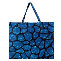 Skin1 Black Marble & Deep Blue Water Zipper Large Tote Bag by trendistuff