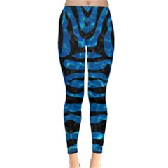 Skin2 Black Marble & Deep Blue Water (r) Leggings  by trendistuff