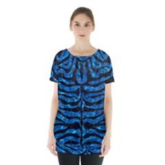 Skin2 Black Marble & Deep Blue Water (r) Skirt Hem Sports Top