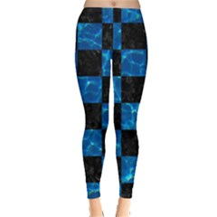 Square1 Black Marble & Deep Blue Water Leggings  by trendistuff