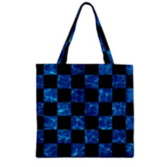 Square1 Black Marble & Deep Blue Water Zipper Grocery Tote Bag by trendistuff