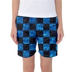 Square1 Black Marble & Deep Blue Water Women s Basketball Shorts by trendistuff