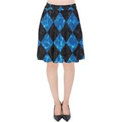 Square2 Black Marble & Deep Blue Water Velvet High Waist Skirt by trendistuff
