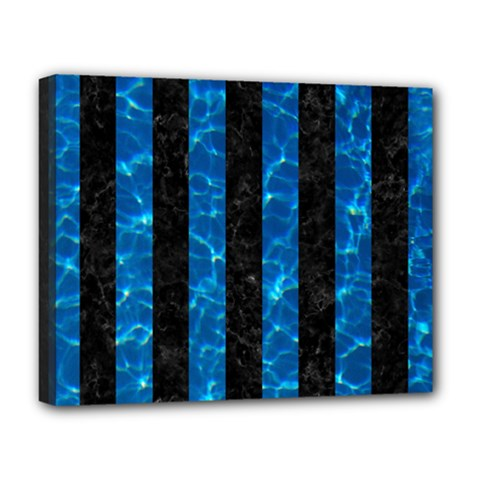 Stripes1 Black Marble & Deep Blue Water Deluxe Canvas 20  X 16   by trendistuff