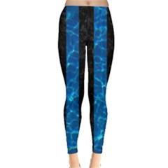 Stripes1 Black Marble & Deep Blue Water Leggings  by trendistuff