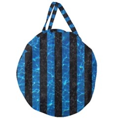 Stripes1 Black Marble & Deep Blue Water Giant Round Zipper Tote