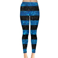 Stripes2 Black Marble & Deep Blue Water Leggings  by trendistuff