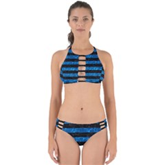 Stripes2 Black Marble & Deep Blue Water Perfectly Cut Out Bikini Set