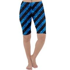 Stripes3 Black Marble & Deep Blue Water Cropped Leggings  by trendistuff