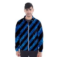 Stripes3 Black Marble & Deep Blue Water Wind Breaker (men)