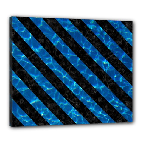 Stripes3 Black Marble & Deep Blue Water (r) Canvas 24  X 20  by trendistuff