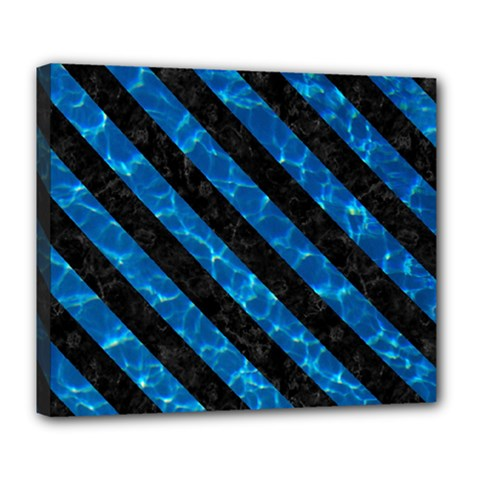 Stripes3 Black Marble & Deep Blue Water (r) Deluxe Canvas 24  X 20   by trendistuff