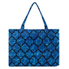 Tile1 Black Marble & Deep Blue Water (r) Zipper Medium Tote Bag by trendistuff