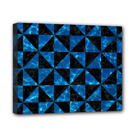 Triangle1 Black Marble & Deep Blue Water Canvas 10  X 8  by trendistuff