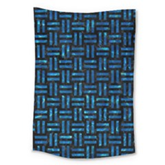 Woven1 Black Marble & Deep Blue Water Large Tapestry by trendistuff