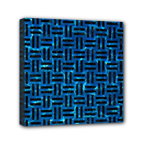 Woven1 Black Marble & Deep Blue Water (r) Mini Canvas 6  X 6  by trendistuff