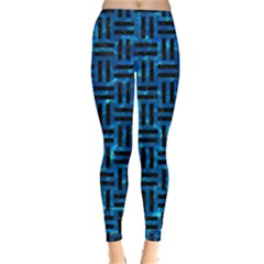 Woven1 Black Marble & Deep Blue Water (r) Leggings  by trendistuff