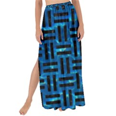 Woven1 Black Marble & Deep Blue Water (r) Maxi Chiffon Tie Up Sarong