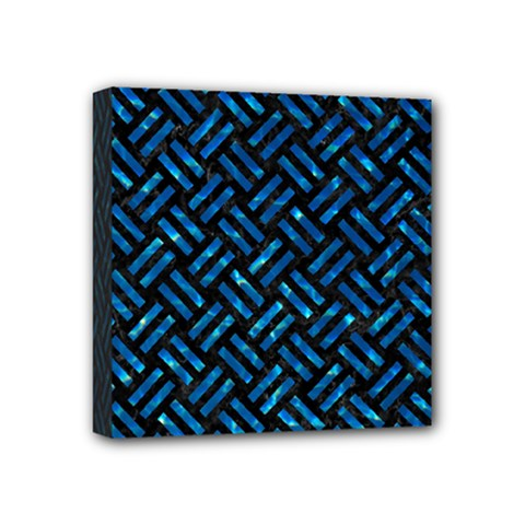 Woven2 Black Marble & Deep Blue Water Mini Canvas 4  X 4
