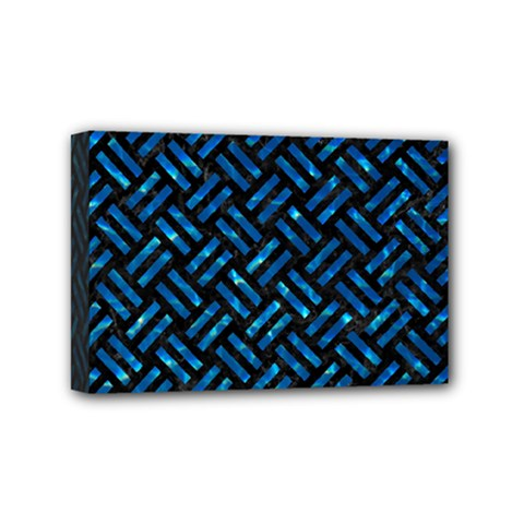 Woven2 Black Marble & Deep Blue Water Mini Canvas 6  X 4  by trendistuff
