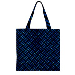 Woven2 Black Marble & Deep Blue Water Zipper Grocery Tote Bag by trendistuff